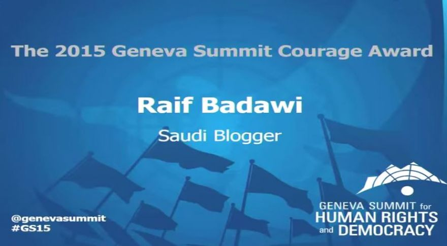 The 'Geneva Summit Courage Award' bestowed on Raif Badawi